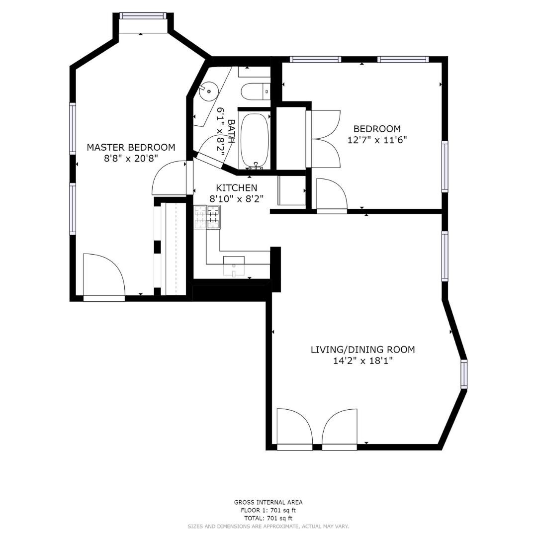Two Bedroom, One Bath - 1