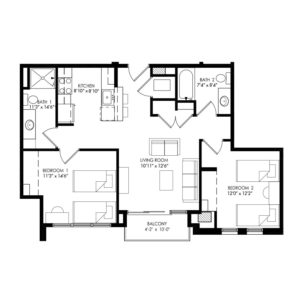 2 bedrooms with separate kitchen area floor plan