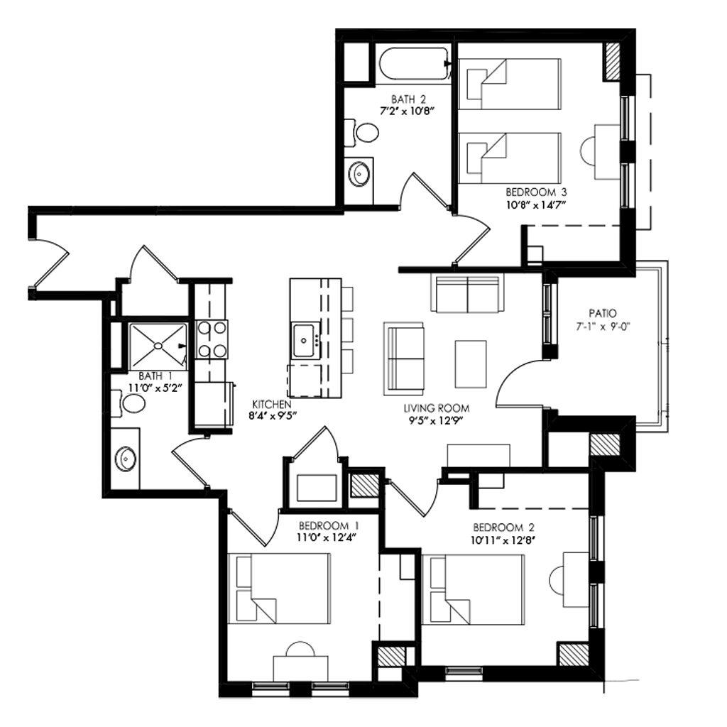 3 bedroom floor plan in Madison Wisconsin