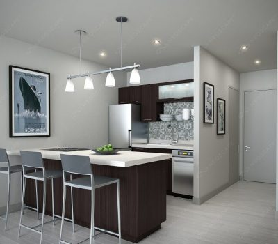 Fancy Kitchen with Hanging Lights