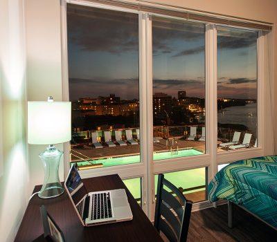 Bedroom Window view into Community Pool
