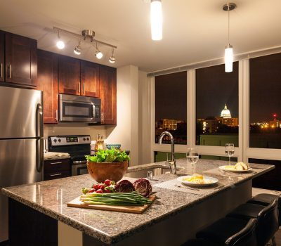 Kitchen Island set for Dinner Date with Nice View