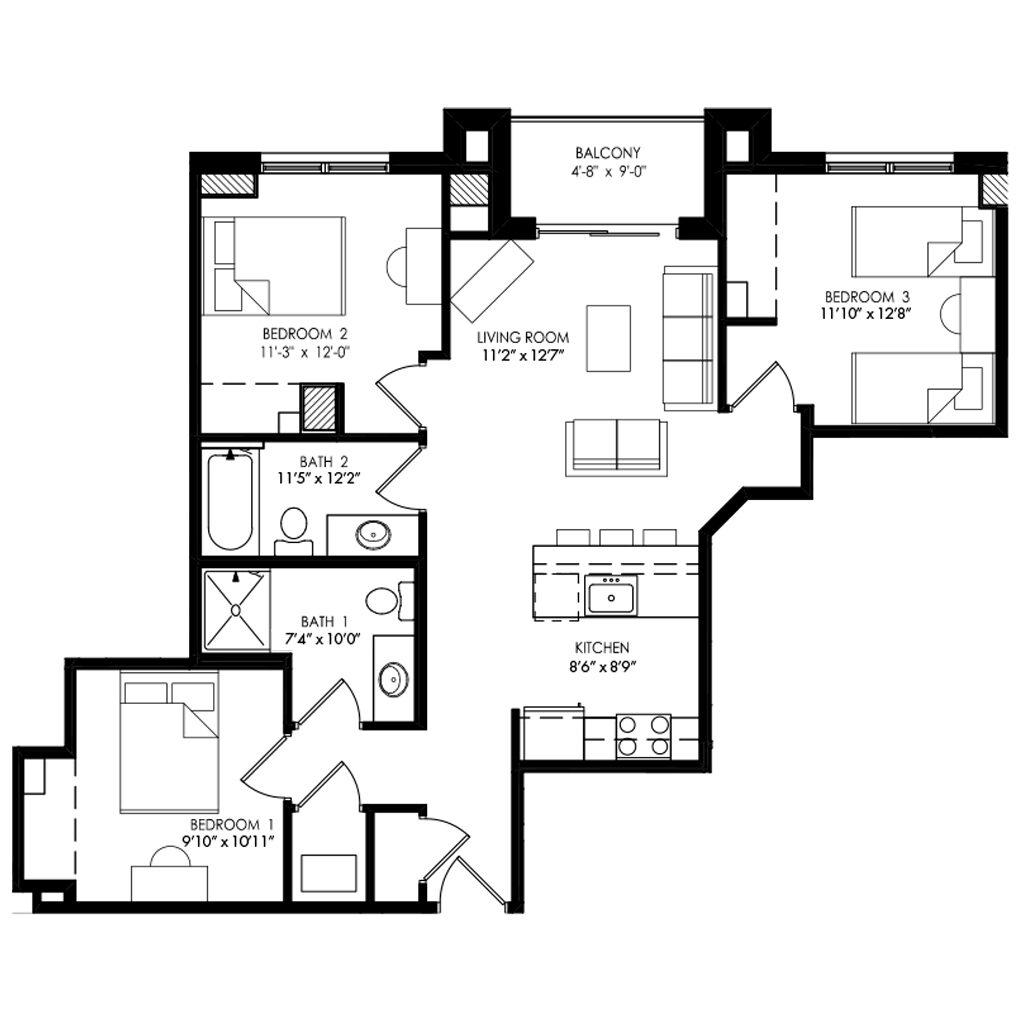 3 bedroom apartment with 2 twin bedroom