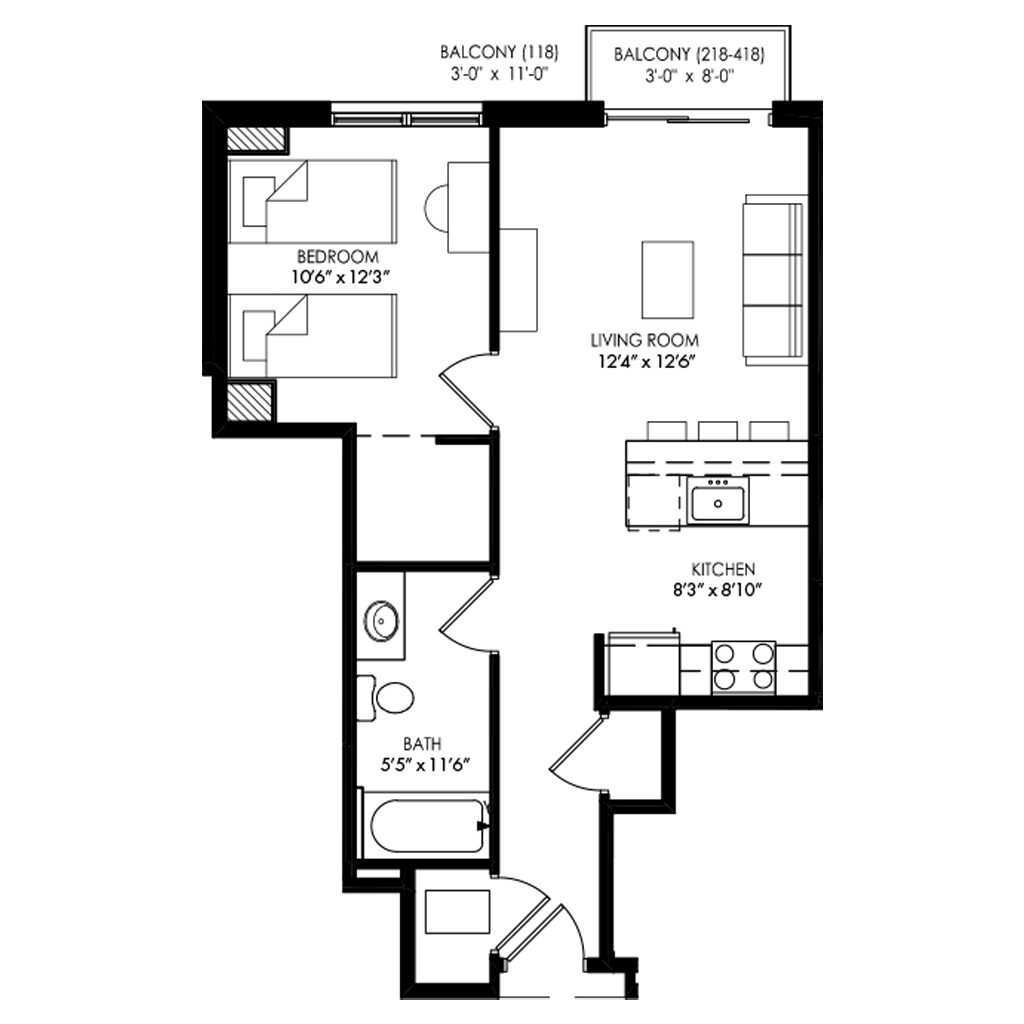 1 two twin bedroom with balcony and large living room