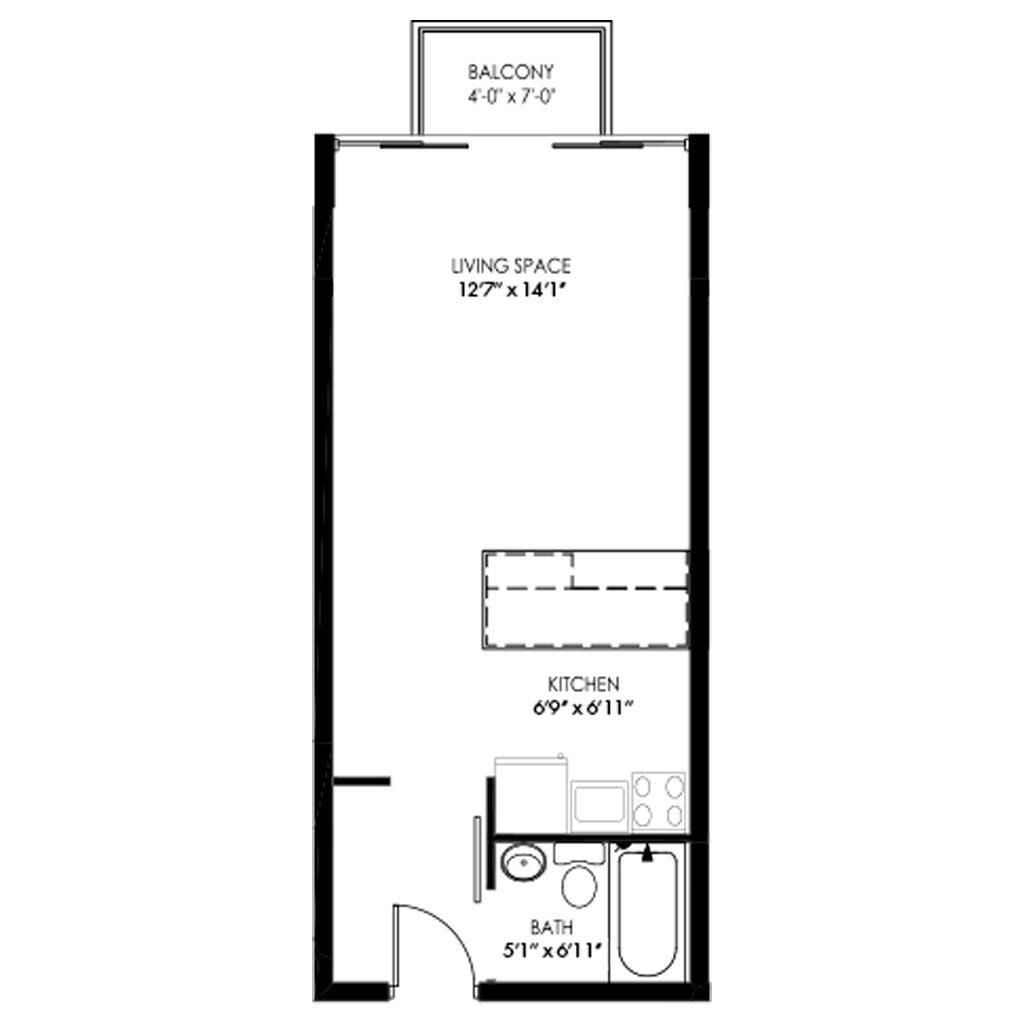 Studio style apartment with balcony floor plan