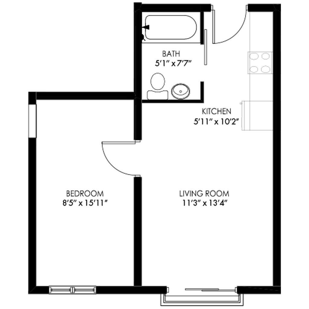 1 Bedroom with Open Living Room Space