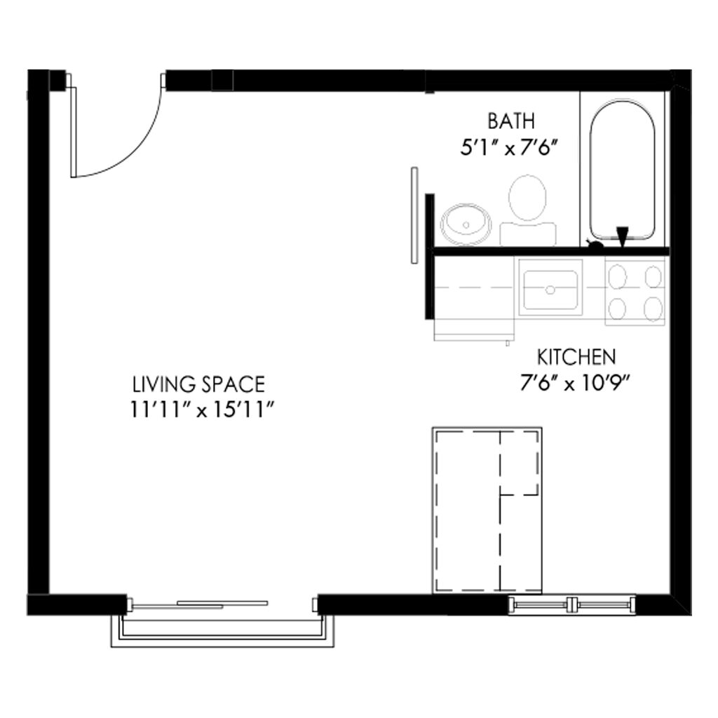 Studio style living space apartment for rent