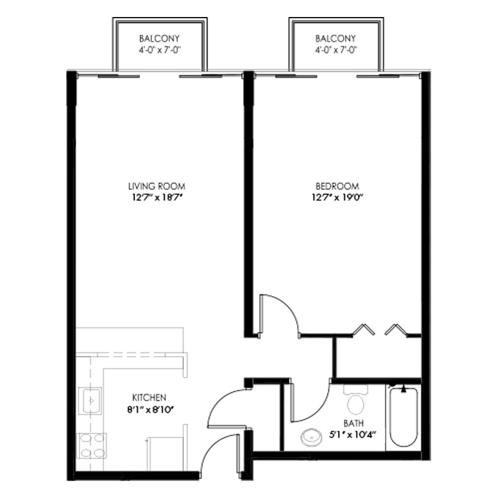 1 Bedroom apartment with two balconies