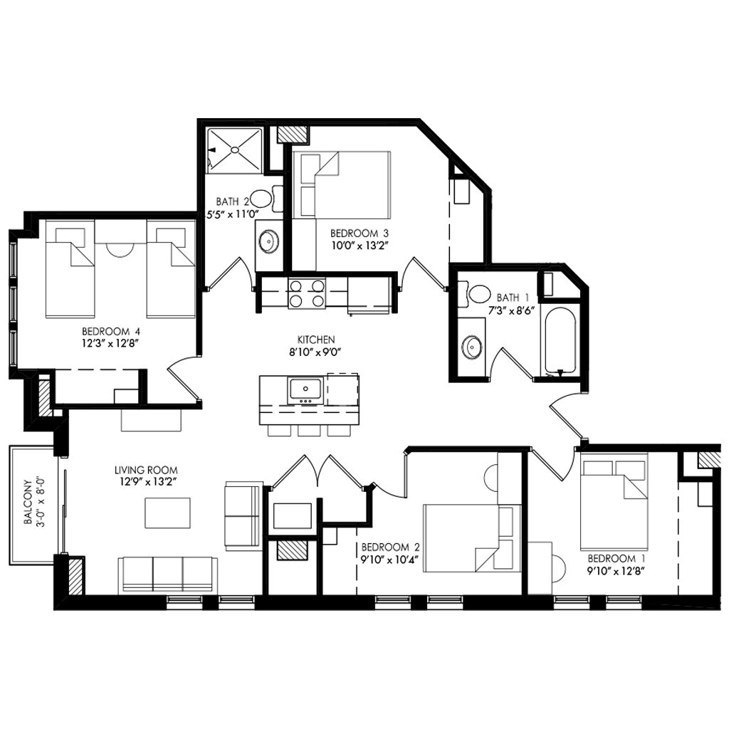 4 Bedroom apartment without long hallway