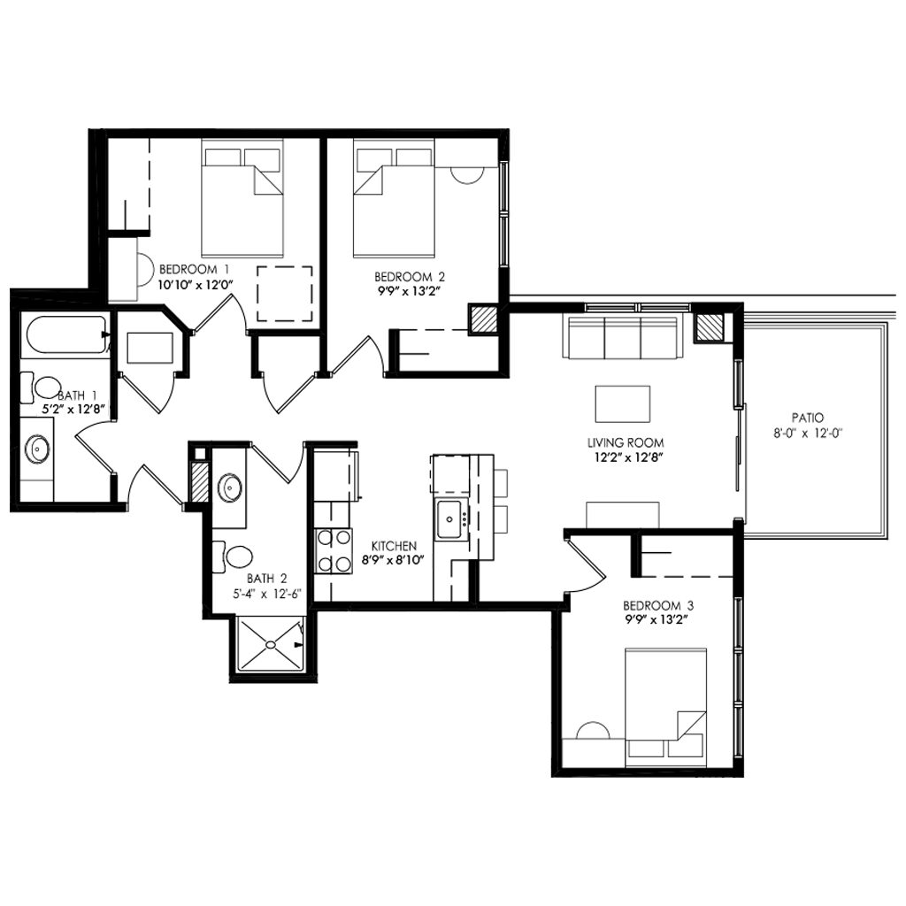 3 Bedroom apartment with large Patio floor plan